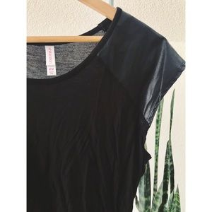 Xhilaration Tops - Faux Leather Shoulder Tee